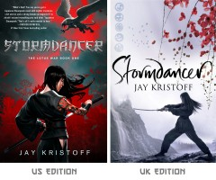 The two beautiful covers for Stormdancer. I can't decide which I like more!